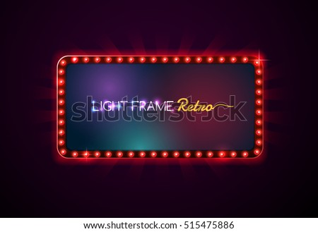 Light frame retro,Shining light banner,neon sign