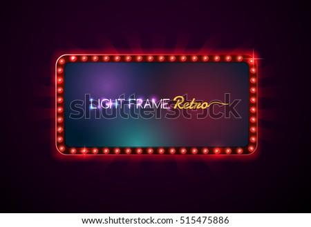 Light frame retro,Shining light banner,neon sign