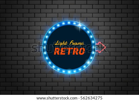 Light frame retro,Shining retro banner.you can move arrow