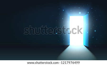 light from the open door of a