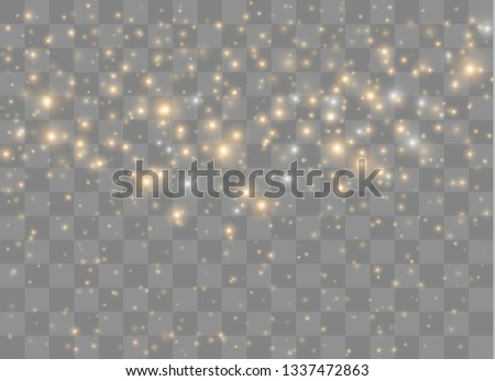 Light glow effect stars. Vector sparkles on transparent background. Christmas abstract pattern. Sparkling magic dust particles.