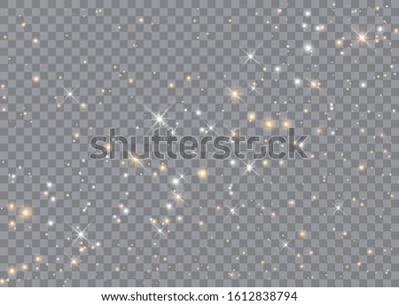 Light glow effect stars. Vector sparkles on transparent background. Christmas abstract pattern. Sparkling magic dust particles