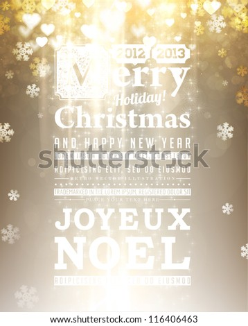 Light golden abstract Christmas background with white glow snowflakes for Xmas design.