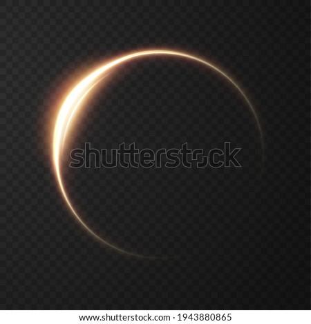Light golden Twirl. Curve light effect of golden line. Luminous golden circle. Light gold pedistal, podium, platform, table. Vector PNG.