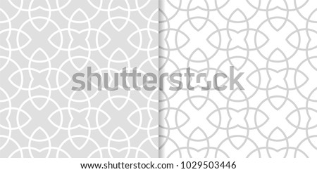 Light gray geometric ornaments. Set of seamless patterns for web, textile and wallpapers #1029503446