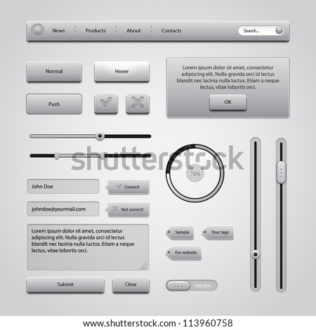Light Gray UI Controls Web Elements 2: Buttons, Comments, Sliders, Message Box, Preloader, Loader, Tag Labels, Unlock