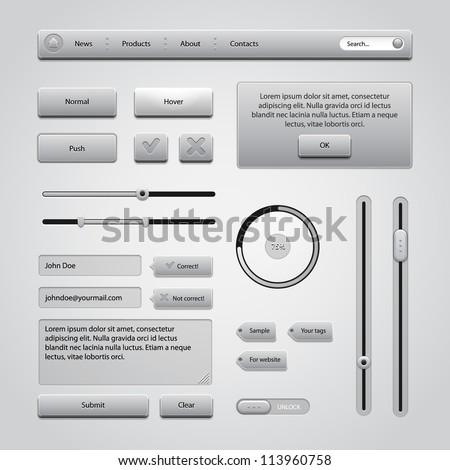 Light Gray UI Controls Web Elements 2: Buttons, Comments, Sliders, Message Box, Preloader, Loader, Tag Labels, Unlock