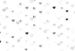 Light Gray vector backdrop with sweet hearts. Blurred decorative design in doodle style with hearts. Pattern for carnival, festival romantic leaflets.