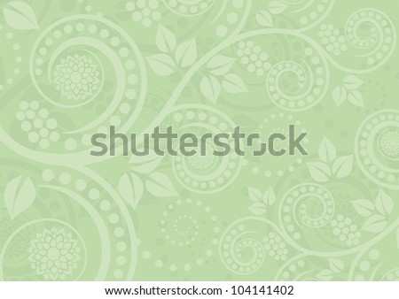 light green background with floral ornaments