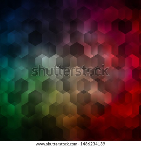 Light Green, Red vector texture with colorful hexagons. Colorful hexagons on blur backdrop. Design for website posters, banners.