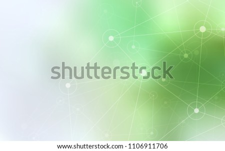 Light Green vector background with bubbles, lines. Glitter abstract illustration with connection of triangle structure. Pattern can be used as texture of wallpapers.