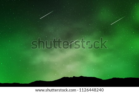 Light Green vector cover with astronomical stars. Shining colored illustration with bright astronomical stars. Pattern for futuristic ad, booklets.