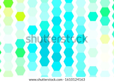 Light Green vector pattern with colorful hexagons. Colorful hexagons on blur backdrop. Pattern for your ad, booklets.