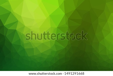 Light Green vector shining triangular background. Shining illustration, which consist of triangles. Template for a cell phone background.