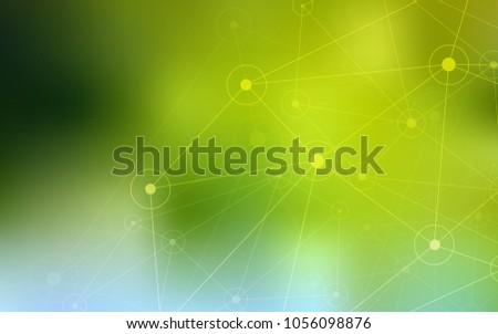 Light Green, Yellow vector cover with spots, lines. Colorful illustration with circles and lines in futuristic style. Completely new template for your brand book.