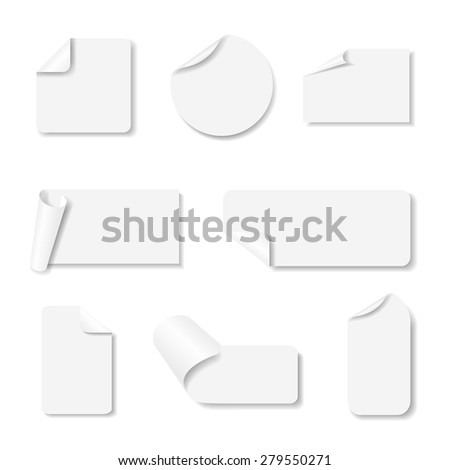 Light grey paper stickers set with shadows on white background. Vector eps10 illustration #279550271