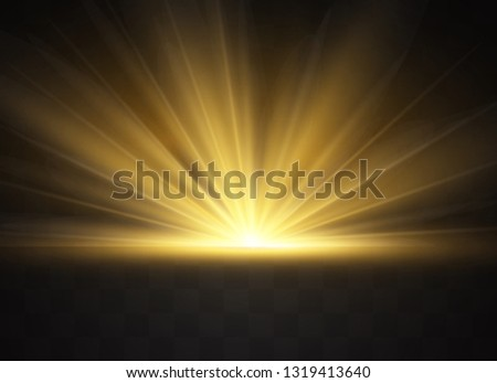Light highlight yellow special effect with rays of light and magic sparkles. Sun Ray . Glow transparent vector light effect set, explosion, shine, spark, solar flare.