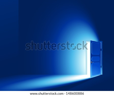 Light in a room through the open door. Vector EPS8. CMYK-version. No Meshes (Light and shadows were created only by a gradient)