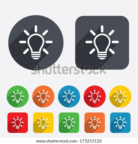Light lamp sign icon. Idea symbol. Light is on. Circles and rounded squares 12 buttons. Vector
