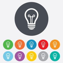 Light lamp sign icon. Idea symbol. Round colourful 11 buttons. Vector
