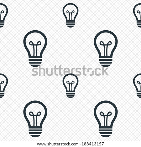 Light lamp sign icon. Idea symbol. Seamless grid lines texture. Cells repeating pattern. White texture background. Vector