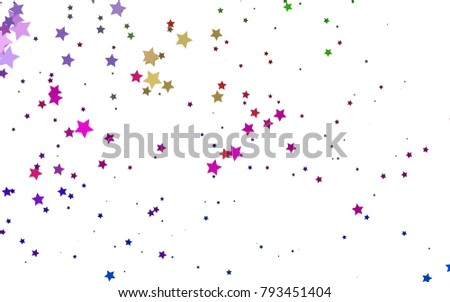Light Multicolor, Rainbow vector texture with beautiful stars. Shining colored illustration with stars. The template can be used as a background.
