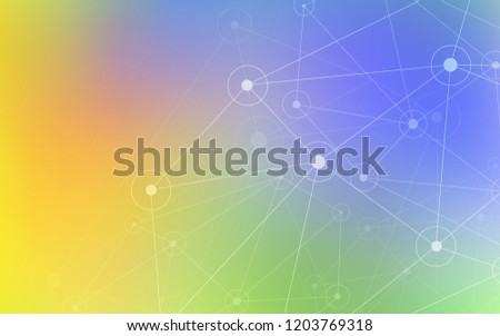 Light Multicolor vector background with bubbles, lines. Illustration with set of colorful abstract circles and lines. Completely new template for your brand book.