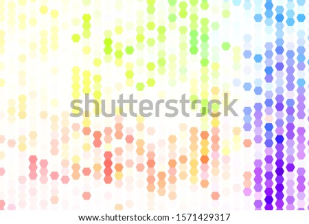 Light Multicolor vector background with hexagons. Colorful hexagons on blur backdrop. Design for website posters, banners.