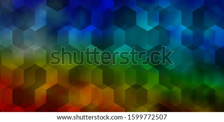 Light Multicolor vector background with hexagons. Colorful hexagons on blur backdrop. Pattern for ads, leaflets.