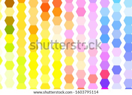 Light Multicolor vector pattern with colorful hexagons. Colorful hexagons on blur backdrop. Design for your business advert.