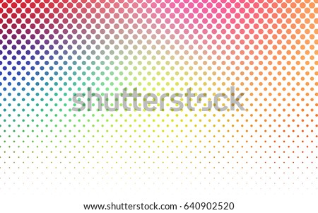 Light Multicolor vector red banner with set of circles, dots. Donuts Background. Creative Design Template. Technological halftone illustration.