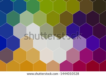 Light Multicolor vector texture with colorful hexagons. Colorful hexagons on blur backdrop. Design for website posters, banners.