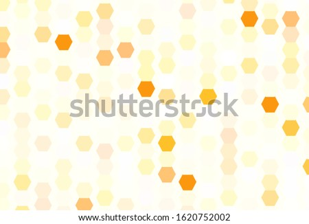 Light Orange vector background with hexagons. Glitter abstract illustration in hexagonal style. Pattern for your ad, booklets.