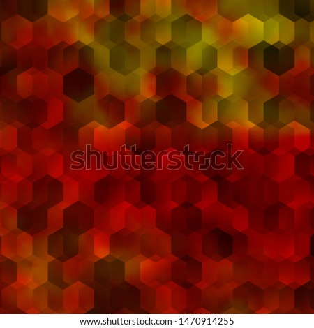 Light Orange vector background with set of hexagons. Colorful hexagons on blur backdrop. Design for website posters, banners.