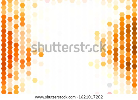 Light Orange vector background with set of hexagons. Colorful hexagons on blur backdrop. Design for your business advert.
