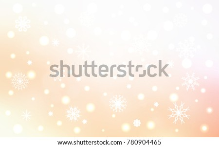 Light Orange vector cover with beautiful snowflakes. Modern geometrical abstract illustration with crystals of ice. New year design for your business advert.