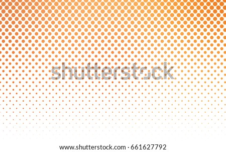 Stock Photo Light Orange vector modern geometrical circle abstract background. Dotted texture template. Geometric pattern in halftone style with gradient.