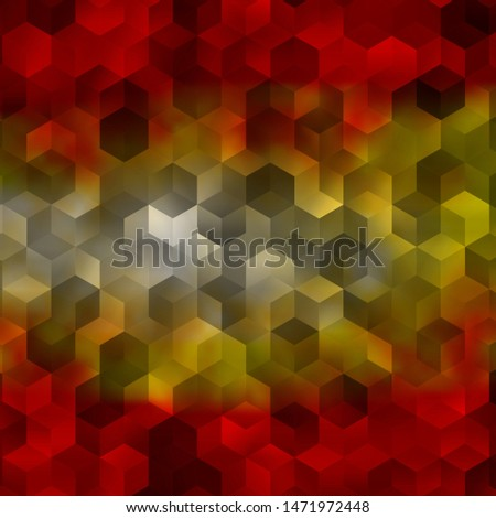 Light Orange vector pattern with colorful hexagons. Colorful hexagons on blur backdrop. Design for website posters, banners.