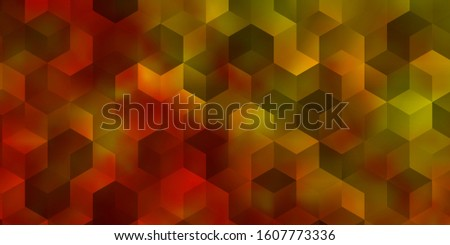 Light Orange vector pattern with colorful hexagons. Colorful hexagons on blur backdrop. Design for your business advert.