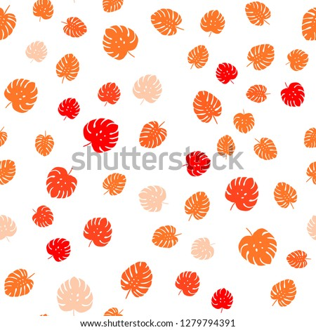 Light Orange vector seamless doodle texture with leaves. Modern geometrical abstract illustration with leaves. Design for textile, fabric, wallpapers. #1279794391