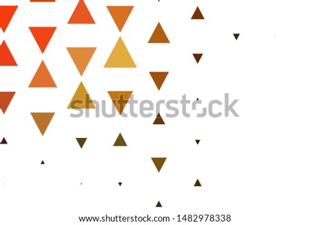 Light Orange vector template with crystals, triangles. Triangles on abstract background with colorful gradient. Best design for poster, banner.