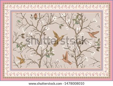 Light ornamental vector design for rug, carpet, tapis, yoga mat. Persian rug, towel, textile. Floral backdrop. Nature ornament with decorative elements. Vector carpet template
