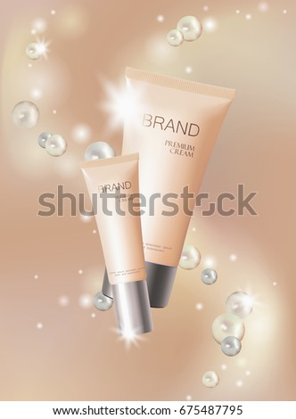 stock-vector-light-pearl-cosmetic-ad-design-template-delicate-beige-silver-skin-care-package-tube-glass-bubble