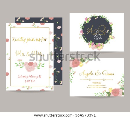 Light pink blue gold invitation card with bouquet #364573391