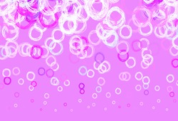 Light Pink, Blue vector background with bubbles. Blurred bubbles on abstract background with colorful gradient. Pattern for futuristic ad, booklets.