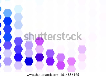Light Pink, Blue vector texture with colorful hexagons. Colorful hexagons on blur backdrop. Design for your business advert.
