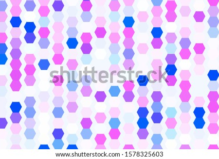 Light Pink, Blue vector texture with colorful hexagons. Colorful hexagons on blur backdrop. Pattern for your ad, booklets.