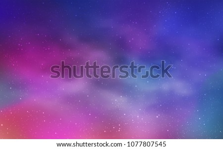 Light Pink, Blue vector texture with milky way stars. Glitter abstract illustration with colorful cosmic stars. Pattern for futuristic ad, booklets. #1077807545