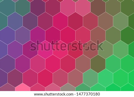 Light Pink, Green vector background with hexagons. Colorful hexagons on blur backdrop. Design for website posters, banners.