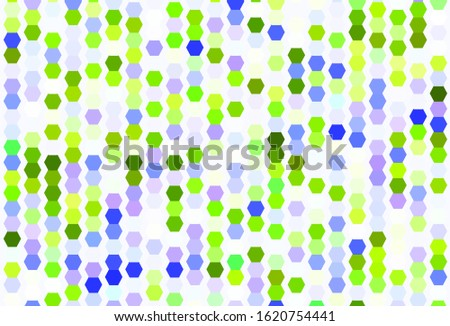 Light Pink, Green vector background with hexagons. Glitter abstract illustration in hexagonal style. New template for your brand book.
